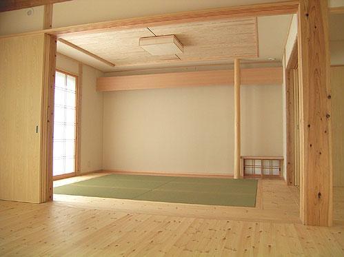 『ドームのある家』〜天体観測もできる!人にも環境にも優しい家づくり〜の部屋 リビング内のシンプルモダンな和室