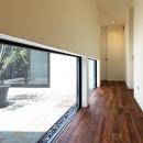 『garden house with garage』〜ガレージ・庭・ホームシアター!趣味を最大限楽しめる住宅〜の写真 地窓のある廊下