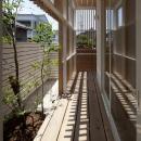 木製ルーバーに囲まれた外回廊