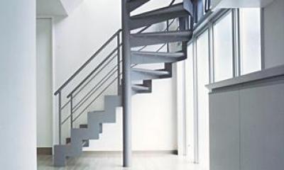 『Sレジデンス』〜シンプルさと回遊性を重視した賃貸併用住宅〜 (賃貸部 玄関・階段)
