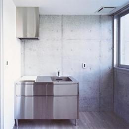 『Sレジデンス』〜シンプルさと回遊性を重視した賃貸併用住宅〜 (賃貸部 シンプルなステンレスキッチン)