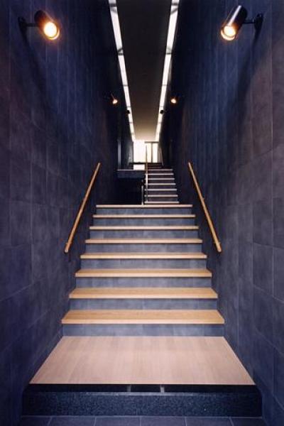 『I-house』〜垂直・水平のラインの美しさを表現した住まい〜 (玄関より 2枚の大壁の階段室)