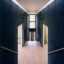 両側に居室を配した階段踊り場