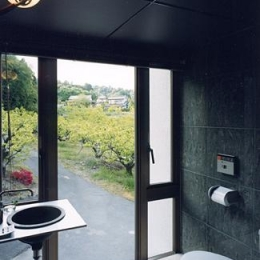 『I-house』〜垂直・水平のラインの美しさを表現した住まい〜 (開放的なトイレ)