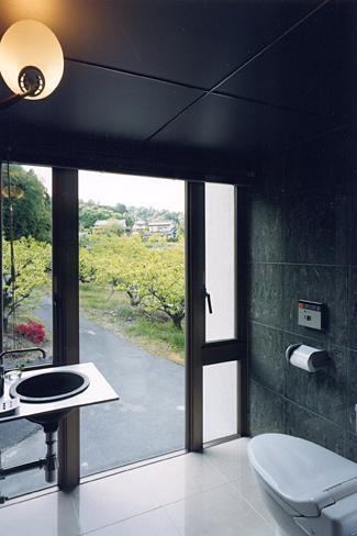 『I-house』〜垂直・水平のラインの美しさを表現した住まい〜の部屋 開放的なトイレ