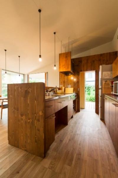 テラスを見通せるウッディキッチン (大きな一枚屋根の下で  −保田のN-House)