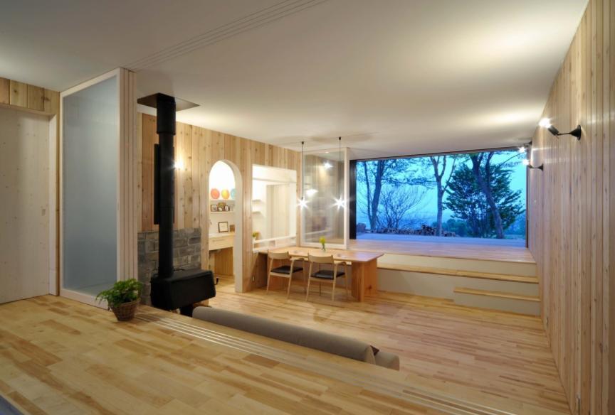 風景に住む  −小諸のK-Houseの写真 両面フルオープンのLDK-1