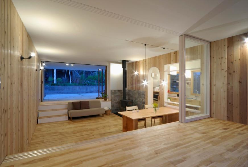 風景に住む  −小諸のK-Houseの部屋 両面フルオープンのLDK-2