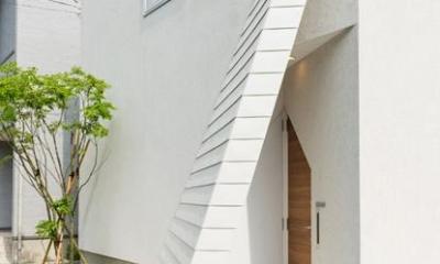 南笹口の家 〜斜め壁のある家〜 (斜め壁をくぐる玄関アプローチ)
