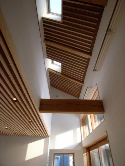 リビング上部吹き抜けを見上げる (『横手の家』〜自然素材たっぷりの和風住宅〜)