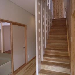 『上町の家』〜格子戸で囲まれた温かな住まい〜 (木製階段)