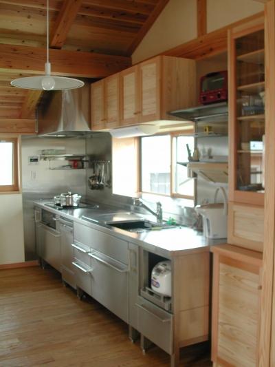 キッチン 収納 (シニア世代の木の家)