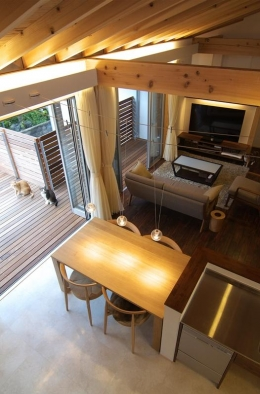 狭小土地に建つ自然素材で造る2世帯住宅 (ロフトよりLDKを見下ろす)