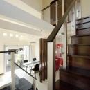 『スクエアハウス』〜大きな吹き抜けのある開放的な住まい〜の写真 吹き抜けのリビング階段