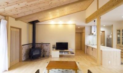 勾配天井のリビング|K邸・南北に風が抜ける家