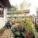 カントリー調の庭