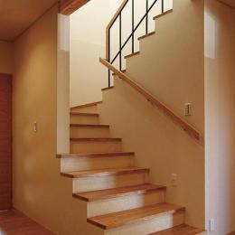 『南加木屋の住宅』〜シルエットの美しい木造2階建住宅〜 (木製階段)