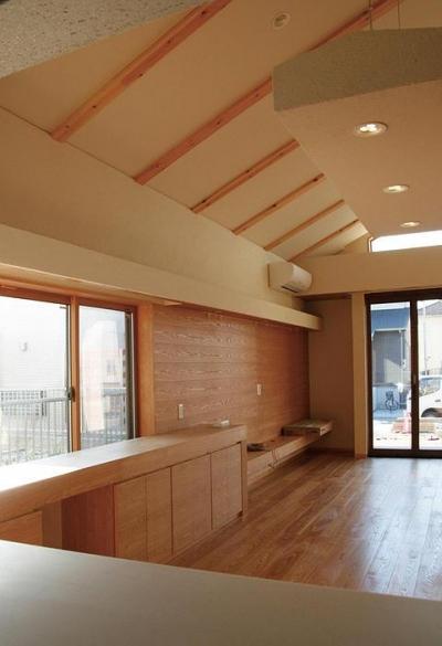 片流れ天井のLD空間 (『南加木屋の住宅』〜シルエットの美しい木造2階建住宅〜)
