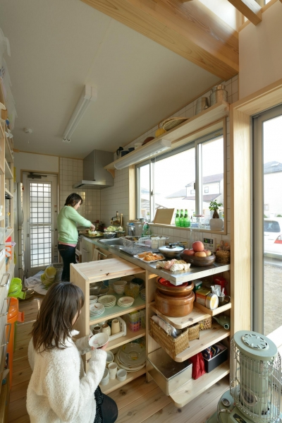 オリジナルキッチン (市ノ川の家 大きな堀座卓の家)