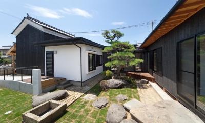 明るくなった庭|『姫路の家』古民家再生と米蔵の曳家