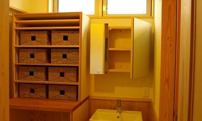ピアノ室(防音室)のある家 (洗面・脱衣室)