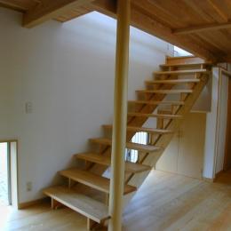 外はモダンシャープ、内はウッディな住まい (無垢のストリップ階段)