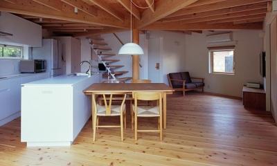 『塩河の家』〜里山の風景と暮らす家〜 (正五角形のLDK・テラス側から室内へ)