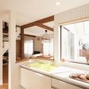 白タイルの明るいキッチン