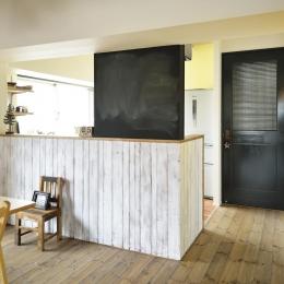 K邸・ビンテージマンションを自分色に (LDK入口-すりガラスのドア)