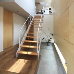『緑中の谷』屋上ジャグジーのある楽しい住まい (吹き抜けの玄関土間と階段)