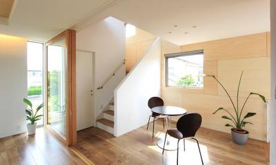 『緑中の谷』屋上ジャグジーのある楽しい住まい (吹き抜けでつながる階段ホール)