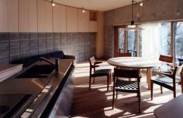 『グレイの家』景観を取り込む住まい (柔らかな光が差し込むLDK)