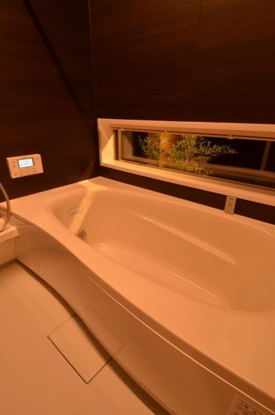 坪庭が見える浴室 (『西条の家』中庭のある家)