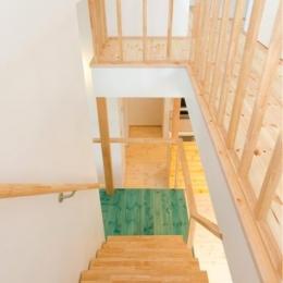 『志和堀の家』スキップフロアのある家 (明るい階段ホール)
