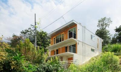 外観-道路側|斜面に埋め込まれた家