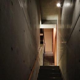 斜面に埋め込まれた家 (コンクリート打ち放しの階段室)
