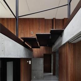 斜面に埋め込まれた家 (吹き抜けに面する大きな階段)