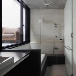 斜面に埋め込まれた家 (インナーテラスに面する浴室)