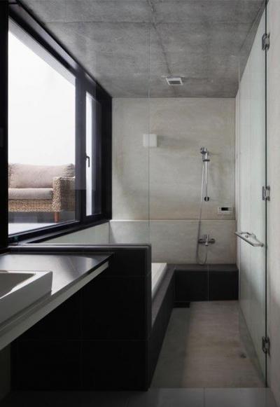 インナーテラスに面する浴室 (斜面に埋め込まれた家)