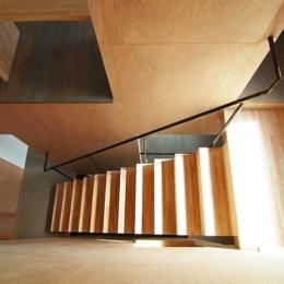 『巣箱の家』家族の成長を見守る住まい (階段を見下ろす)