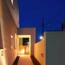 照明の灯りが導く玄関アプローチ