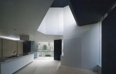 明るい光が差し込むLDK (『Natural Angle』空間の連続・拡がりのある住まい)