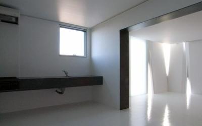 room3-モノトーンでクールなDK (『Natural Cubes』立体キューブの賃貸住宅)