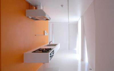 room4-オレンジ色の壁のキッチン (『Natural Cubes』立体キューブの賃貸住宅)