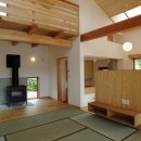 大屋根造りの家の写真 温かみを感じる和風LDK