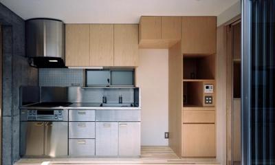 『NSH』コンパクトにまとめられた温かな住まい (ステンレス×木材のキッチン)