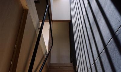 『NSH』コンパクトにまとめられた温かな住まい (トップライトのある階段室)