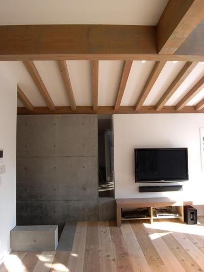 木×コンクリートのリビング (『HKH』優しい光の集まる木造2階建て住宅)