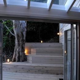 『HKH』優しい光の集まる木造2階建て住宅 (リビングよりテラス・林を見る)