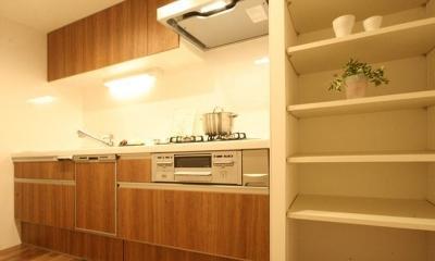 収納豊富なプランで贅沢に暮らす (キッチン)